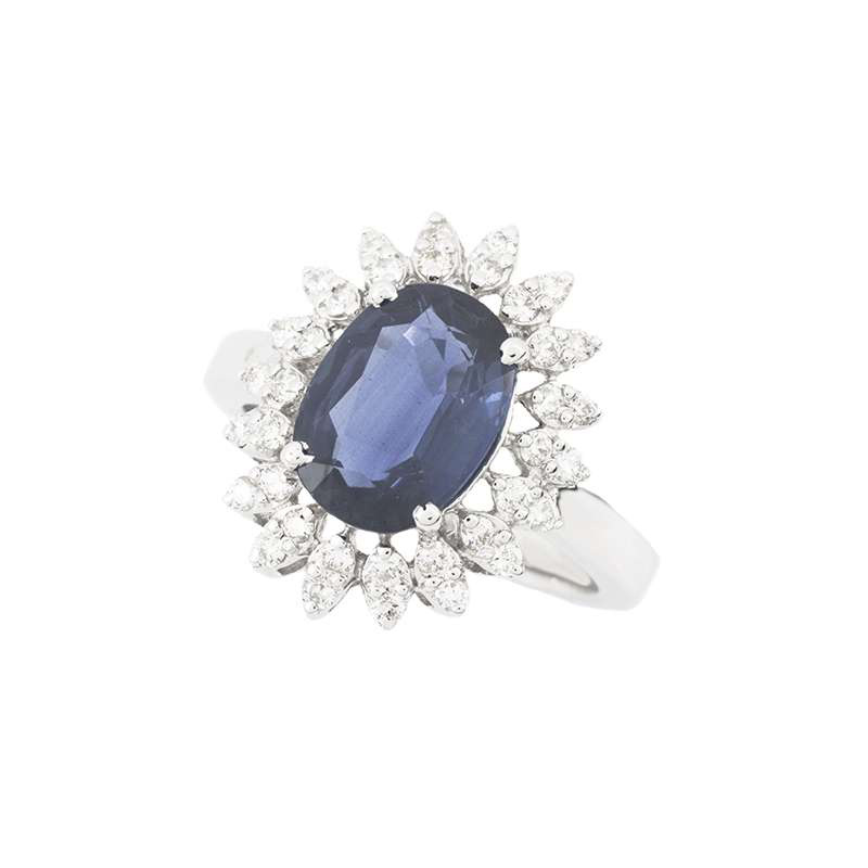 18k White Gold Sapphire and Diamond Cluster Ring